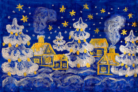 Hand painted picture - winter - Christmas - New year postcard, houses and fir trees on dark blue background, silver and golden gouache. photo