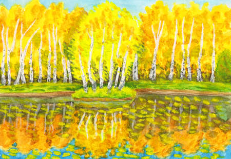 Hand painted picture, watercolours - autumn landscape, yellow birch forest with reflection in water and little island with birches. Painted from real landscape in park Sokolniki in Moscow, I have also photographs of this place. photo