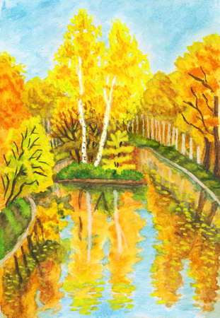 Hand painted picture, watercolours - autumn landscape with forest and little island on lake with birch trees. It is painted from real landscape in park Sokolniki in Moscow, I also have photographs of this place. photo