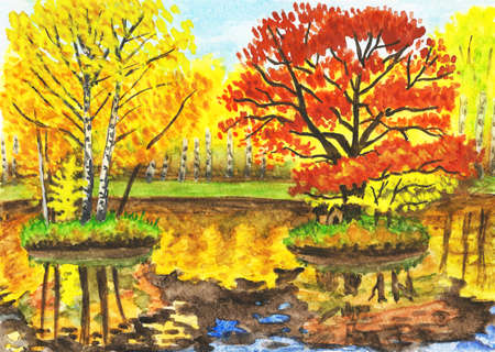 Hand painted picture, watercolours - autumn landscape, lake with two little islands with  yellow and red trees. It is painted from real landscape in park Sokolniki in Moscow, I also have photographs of this place. photo