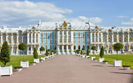 Tsarskoye selo, Russia  - July 07, 2012: palace of queen Ekaterina Second Great in Tsarskoye selo (king's village), surroundings of St. Petersburg.