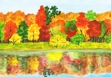Hand painted picture, watercolours - autumn landscape, forest with reflection in water. photo