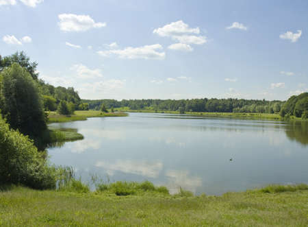 izmaylovskiy: Summer landscape with big lake and forest around, recorded in Izmaylovskiy park Swan lake.