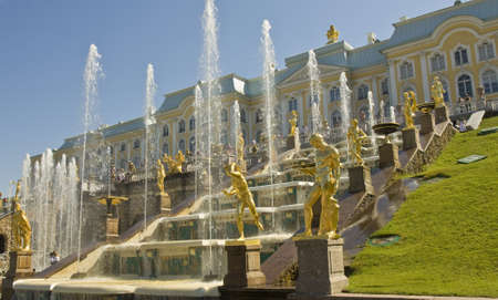 Peterhof, Russia - July 06, 2012: palace and fountain grand cascade, in surroundings of St. Petersburg. Редакционное