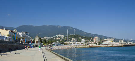 Yalta, Crimea, Ukraine - May 11, 2012: sea quay and port in town Yalta, best resort in region Crimea on Black sea, called
