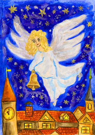 Hand painted Christmas picture, angel with Christmas bell, watercolours, details with golden and silver gouache. photo