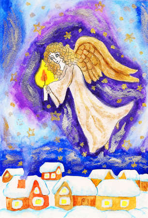 Hand painted Christmas picture, angel with candle, watercolours, golden and silver gouache. photo