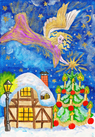 Angel with star, hand painted Christmas picture, watercolours with golden and silver gouache. photo