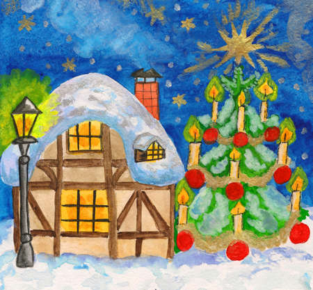 Hand painted Christmas picture - House and christmas tree, watercolours, details with golden gouache. photo