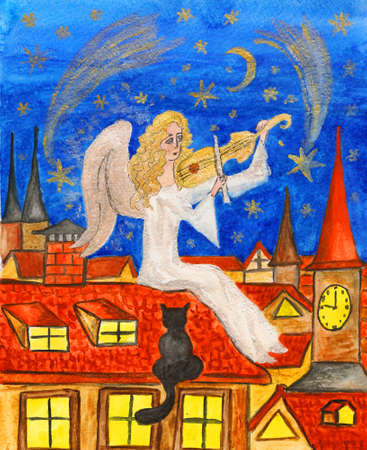 Angel with violin, hand painted picture, watercolours, details with golden and silver gouache. photo