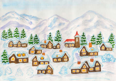 Hand painted christmas picture, watercolours, village in hills in winter. photo