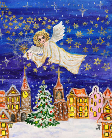 Angel with sparkler, hand painted Christmas picture, watercolours, details with silver and golden gouache. photo
