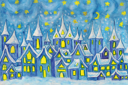 Hand painted illustration, watercolours - Dreamstown  Can be used as illustration for fairy tales books for children, Christmas pictures  illustration