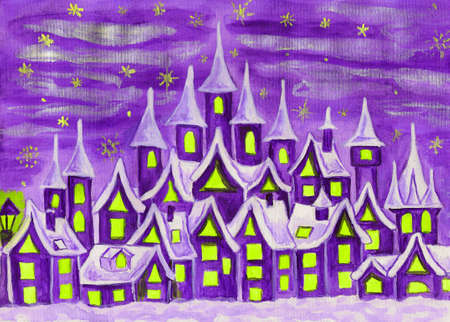 Hand painted illustration, watercolours, fairy town in violet colours, can be used as illustration for children's fairy tales, Christmas picture, etc. Stock Illustration - 16300353