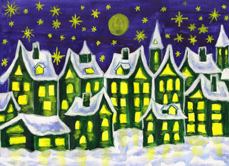 Hand painted picture, watercolours, dreamstown in green colours, can be used as illustration for books for children, fairy tales, Christmas pictures, etc. Stock Illustration - 16358987