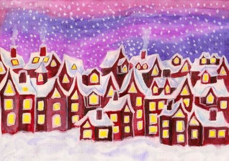 Hand painted picture, watercolours, Dreamstown in raspberry pink colours  Can be used as illustration for children illustration