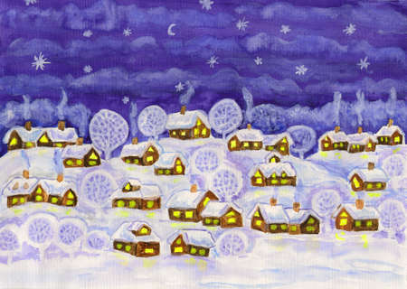 Hand painted Christmas illustration, watercolours, village in winter at night  illustration