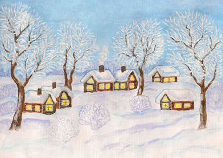 Hand painted Christmas illustration, watercolours and white gouache, winter landscape with village houses and trees on blue sky. illustration