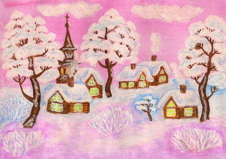 Hand painted Christmas illustration, winter landscape with houses and trees in pink colours, used watercolours, gouache and acrylic. Stock Illustration - 16489371