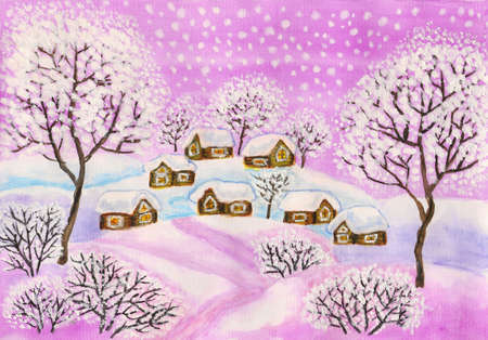 Hand painted Christmas picture, winter landscape with houses and trees in purple colours, used watercolours, gouache, acrylic. photo