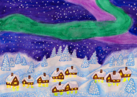 Hand painted Christmas illustration, landscape with Northern lights on sky, houses and fir trees in snow, watercolours, gouache. illustration