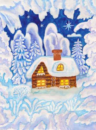 House in winter landscape and snow frame, hand painted Christmas picture, watercolours and gouache  photo