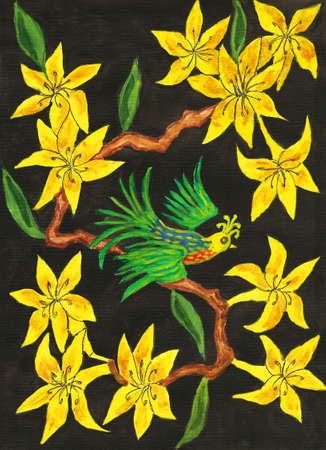 Bird on branch with yellow rhododendron flowers on black background, painting, in traditions of old Chinese art, gouache.