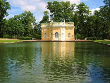 Decorative pavilion in park belongs to palace of queen Ekaterina Second Great in Tsarskoye selo (Queen's village) in surroundings of St. Petersburg, Russia.