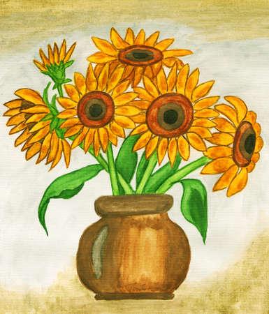 guache: Girasoles, pintado a mano cuadro, gouache.