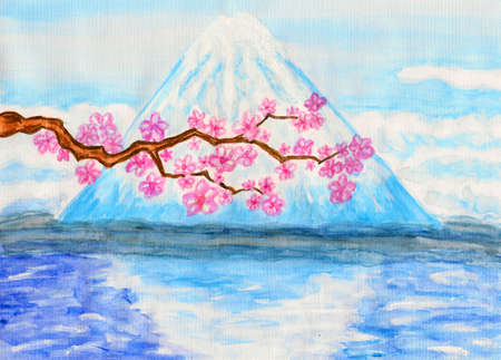 Hand painted picture, watercolours, acrylic, mountain Fuji and branch of Japanese cherry tree in blossom with pink flowers photo