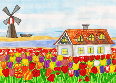 Series Houses of the world, House in Holland  House with tulips , hand painted picture, watercolours  photo