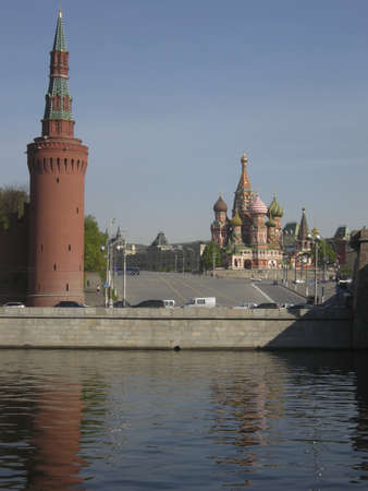 st basil s cathedral: St  Basil s cathedral and Kremlin tower, Moscow, Russia Stock Photo