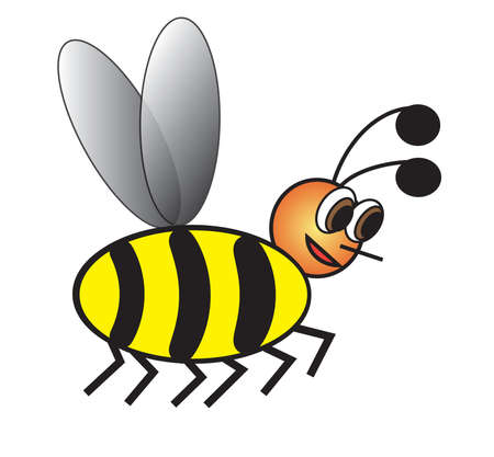 Bee, on white background, illustration, horizontal, RGB color space Vector