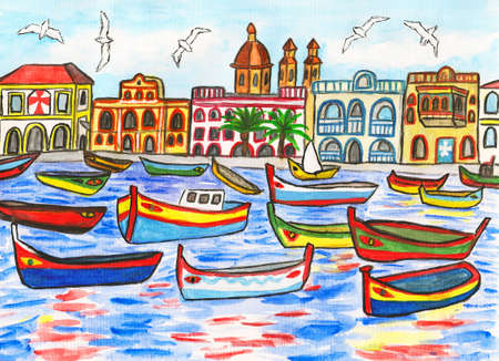 Malta landscape, hand painted picture, gouache and watercolours. Stock Photo - 16884989