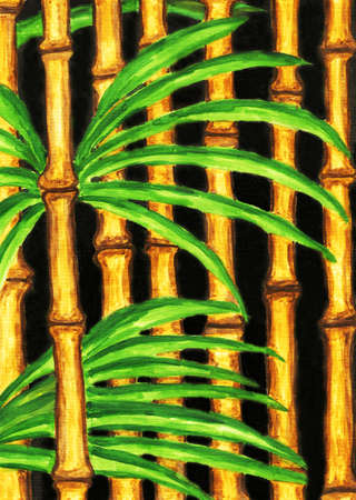 Bamboo, hand painted picture, gouache. Stock Photo - 17079362