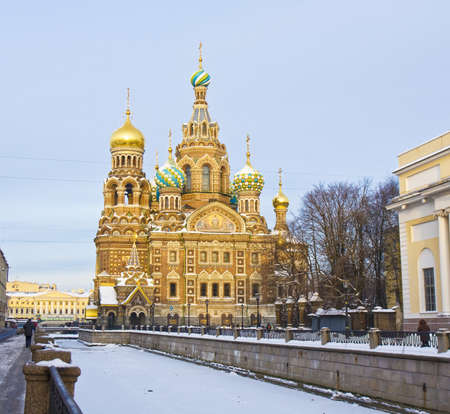 Resurrection cathedral of Jesus Christ Saviour on blood in St. Petersburg in Russia in winter. Stock Photo