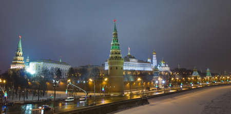 Moscow, Russia - December 31, 2012: Kremlin fortress with Kremlin palace and cathedrals at night in winter. Stock Photo - 17262367
