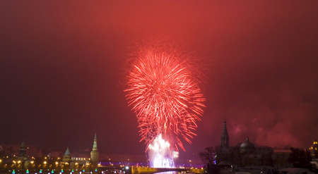 Moscow, salute in new years night near Kremlin and Moscow-river.