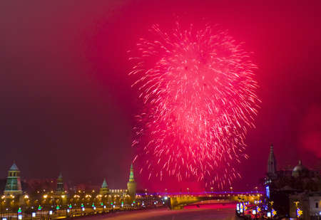 Moscow, Russia - December 31, 2012: salute near Kremlin and Moscow-river at New year night. Salutes take place on all public holidays.