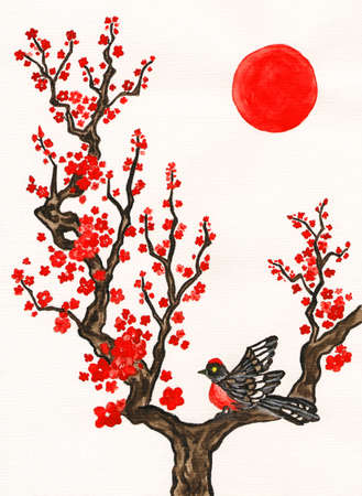 Bird on branch with red flowers on white background, vertical, hand painted picture, watercolours, in traditions of old Chinese painting. photo