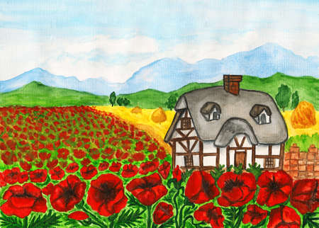 Landscape with house on meadow with red poppies, hand painted picture, watercolours. photo
