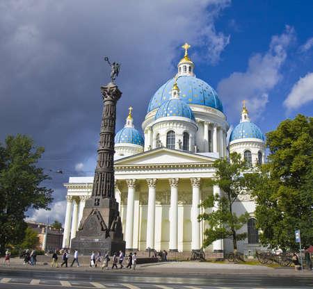 izmaylovskiy: St. Petersburg, Russia - July 14, 2012: Trinity Izmaylovskiy cathedral, unidentified people on the street around.