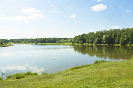 izmaylovskiy: Summer landscape with big lake and forest around, recorded in Izmaylovskiy park in Moscow, Swan lake. Stock Photo