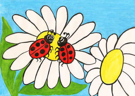 Two insects ladybirds on camomile flower, painting, gouache, greeting postcard to St. Valentine's day. photo