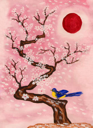 Bird on branch with white flowers, hand painted picture, watercolours and acrylic, in traditions of old Chinese art. photo