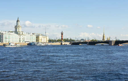 ethnography: St. Petersburg, Russia, University quay of river Neva, building of Museum of Anthropology and ethnography (cabinet of curiosities) 1718-1734, Palace bridge, Rostral coloumn and cathedral of St. Peter and Paul of castle of St. Peter and Paul.