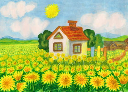 House with yellow dandelions, hand painted picture, watercolours.