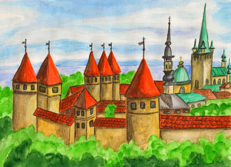 Tallinn, capital of Estonia, hand painting, watercolours. photo