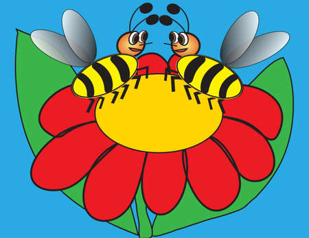 Two bees sitting on red flower on blue background, greeting card for St. Valentine's day Vector