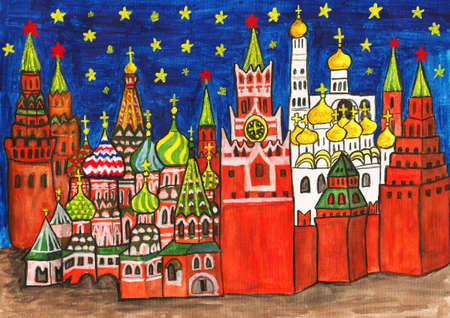 Moscow, hand painted picture, gouache. Kremlin fortress with Kremlin cathedrals and St. Basil's Pokrovskiy (Intercession) cathedral. photo
